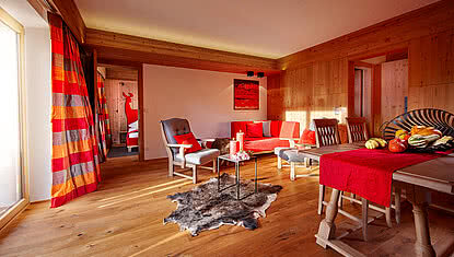Lounge area in the Landhaus apartment in Minglers Sportalm in Kirchberg near the Kitzbühel Alps